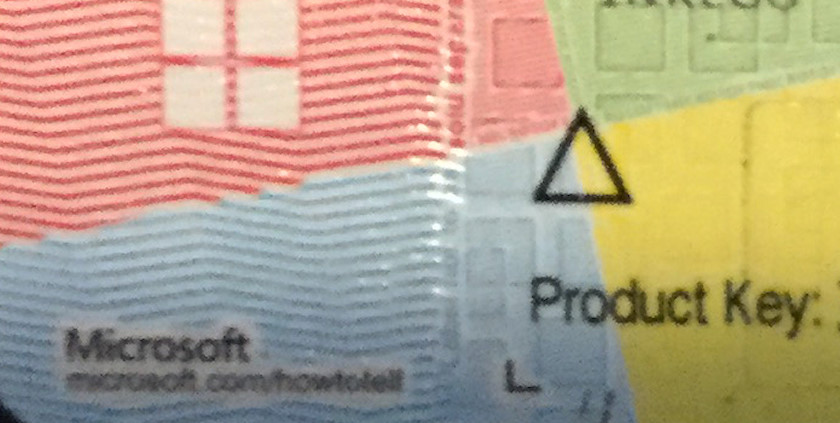 Part of the Microsoft Product Key label
